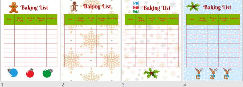 Holiday Baking List