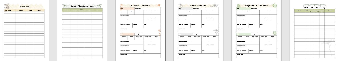 Monthly Harvest log, preserves recipe log, egg production log, flower harvest log, Gardening journal, tracker, and planner