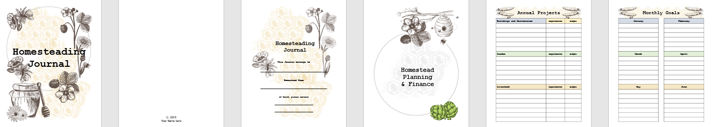 Our Homesteading Journal contains planning, income, gardening, management and records, market days, and notes pages and planners