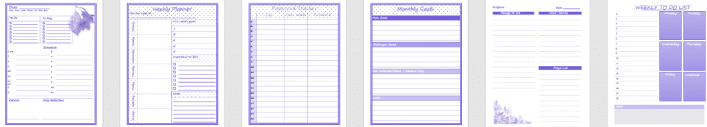 Planners, trackers, weekly to-do lists, Createful journals