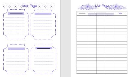 idea pages, list page, Createful journals