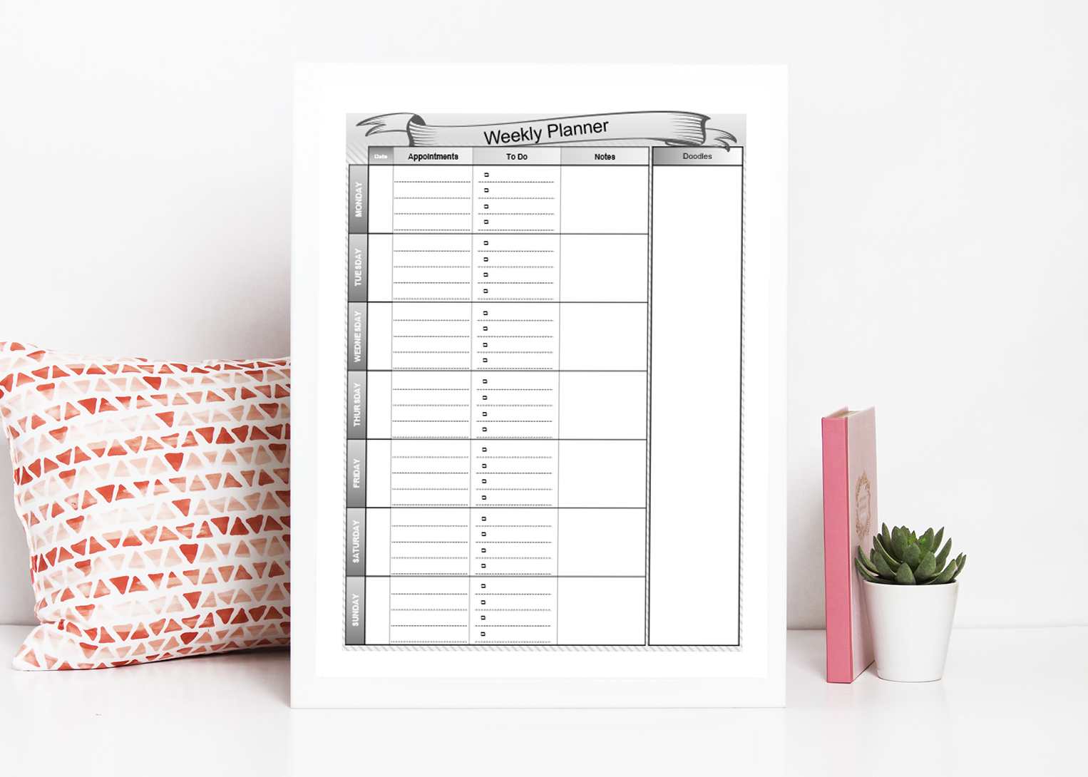Downloadable Weekly Planners to help you plan out your week, goals, tasks, and other important reminders.