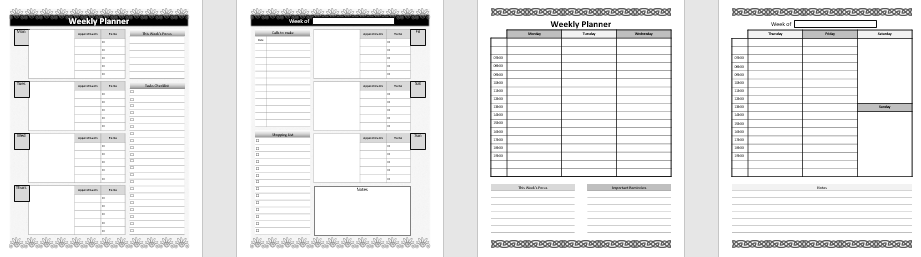 This weekly planner helps you keep track of your to-dos, weekly goals, appointments, calls, and daily tasks. Use these weekly planners to help you plan your week.