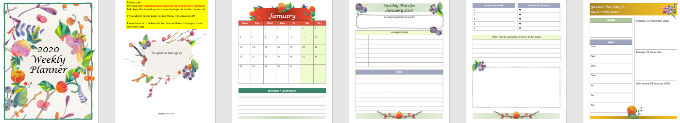 Createful journals, 2020 weekly planner, downloadable journals, downloadable planners