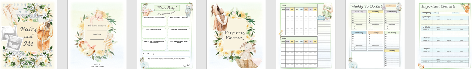 Createful Journals, Downloadable Journals, Printable Journals, Pregnancy printable journals,Pregnancy downloadable journals