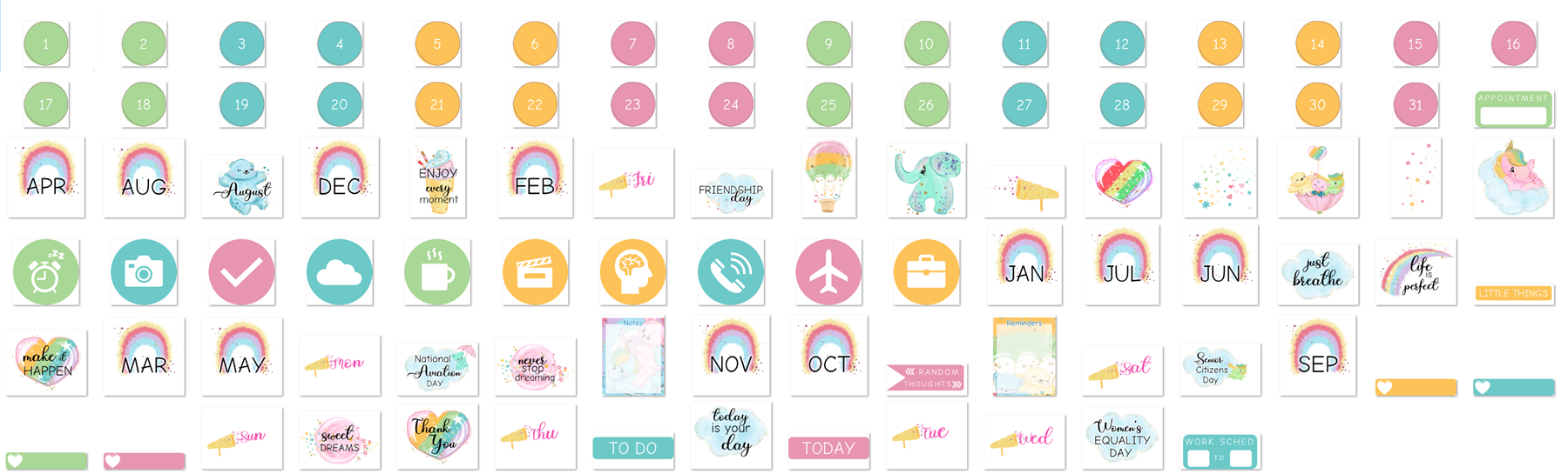 Set of August Stickers